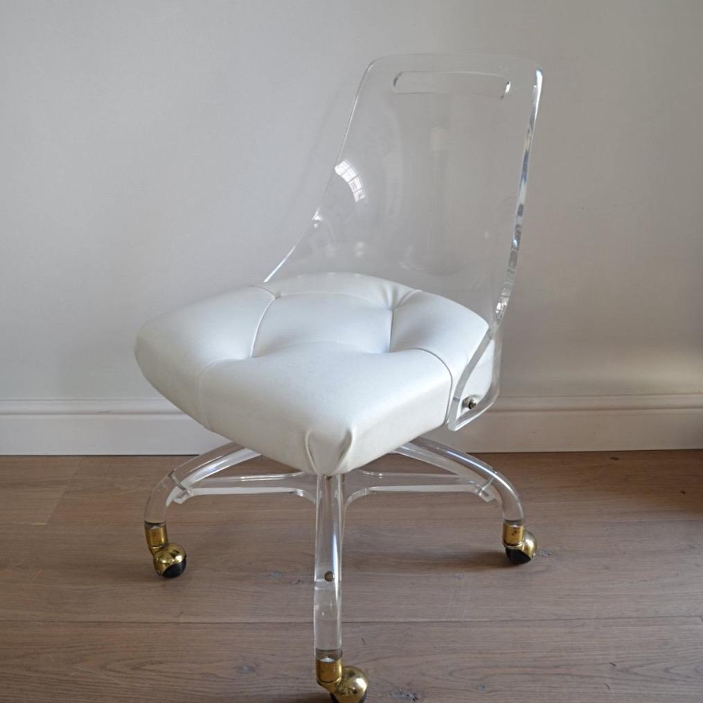 Perspex and Brass Desk Chair