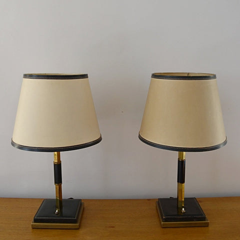 Brass and Leather Table Lamps