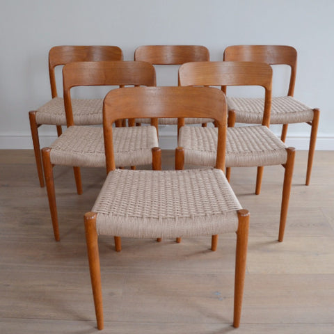 Six Niels Møller Model 75 Dining Chairs