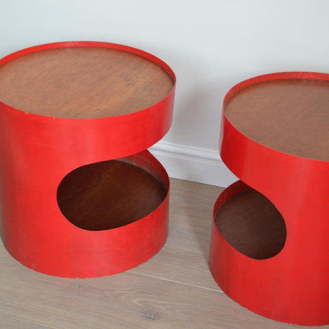 Red Fibreglass Side Tables
