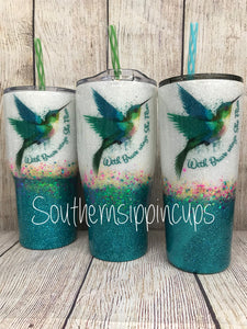 "Hummingbird / ""With Brave Wings She Flies"" Tumbler"
