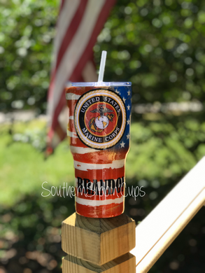 Grungy US Marines American Flag Tumbler