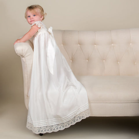 Jessica Silk Christening Gown, Bonnet & Bloomers