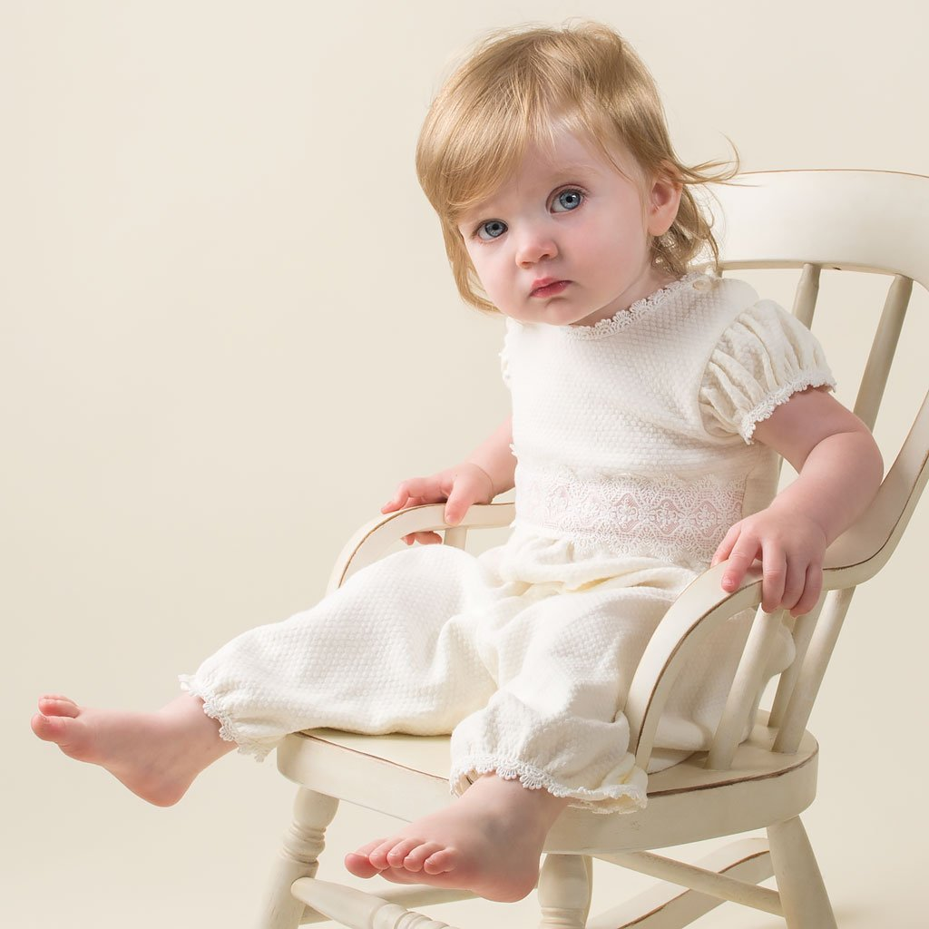 Amy Christening Jumpsuit & Bonnet Set - Girls Christening Jumpsuit