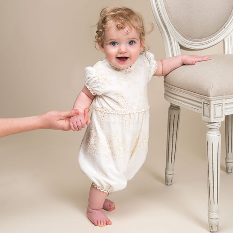 Clementine Christening Jumpsuit - Girls Christening Jumpsuit