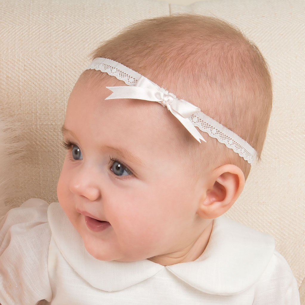 Emma Pink Silk Ribbon Christening Headband - Girls Headband