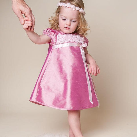 Harper Toddler Dress & Wreath Headband - Girls Christening Dress