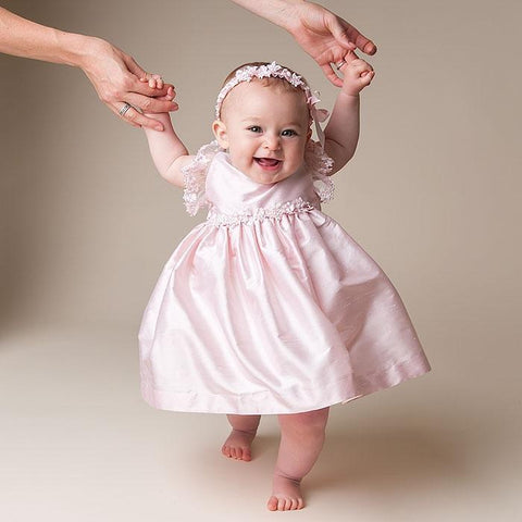 Leila Pink Silk Dress (3-6 month and 18-24 month only) - Girls Christening Dress
