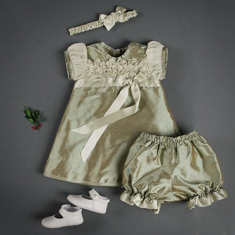 Olive Dress, Bloomer, and Silk Headband set - Girls Christening Dress