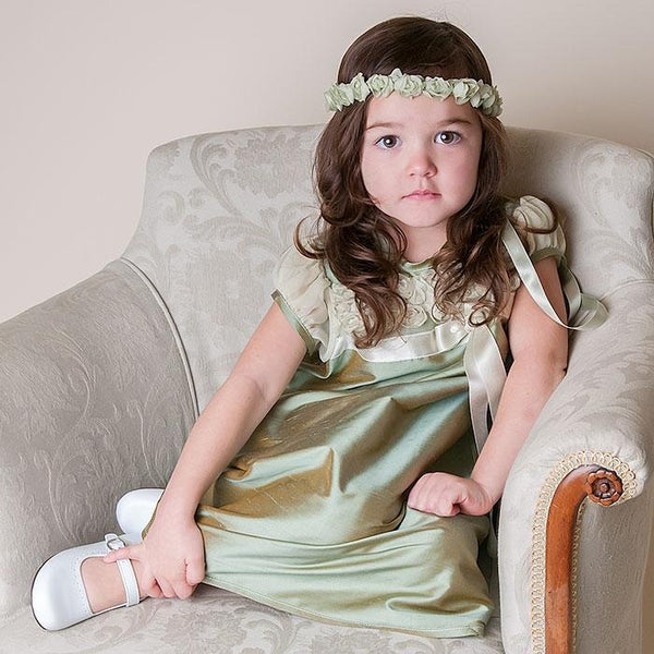 Olive Toddler Dress & Wreath headband - Girls Christening Dress