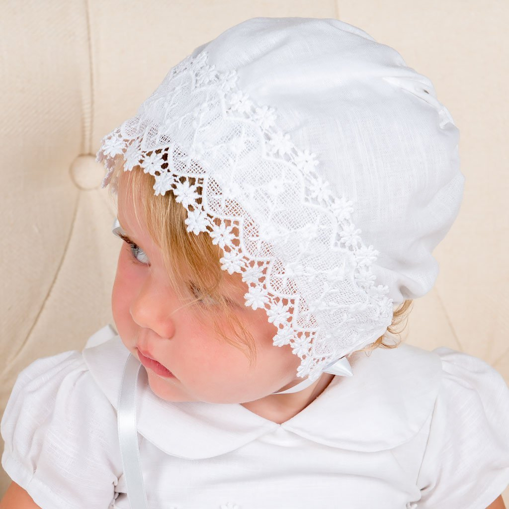 Olivia Linen Christening Bonnet - Girls Bonnet
