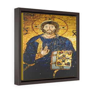 Square Framed Premium Gallery Canvas - 11th century mosaic of Jesus Christ on the wall of Hagia Sophia