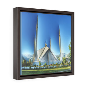 Square Framed Premium Gallery Canvas -  The Faisal Mosque - Islamabad - Pakistan Islam