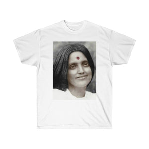 Gildan 2000 - US PRINT - Unisex Ultra Cotton Tee - Hindu Saint Ananda Mayi Ma - or bliss permeated Mother - Bless All Around