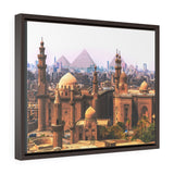 Horizontal Framed Premium Gallery Wrap Canvas -  The Mosque Madrassa of Sultan Hassan - Pyramids in the back - Cairo - Egypt - Ancient religions