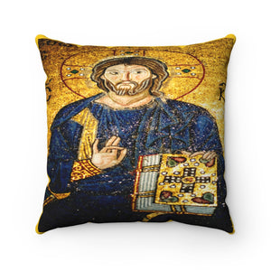 Faux Suede Square Pillow - 11th century mosaic of Jesus Christ on the wall of Hagia Sophia - a Cathedral-Mosque-Museum in Istanbul
