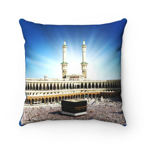 Faux Suede Square Pillow - Glorious Mosque - Kaaba Mecca - UAE - ISLAM