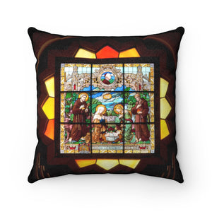 Faux Suede Square Pillow - Palestine, stained glass in Church of the Nativity in Bethlehem