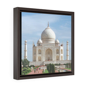 Square Framed Premium Canvas - The awesome Taj Mahal - A Moslem mausoleum - Agra, India - Islam