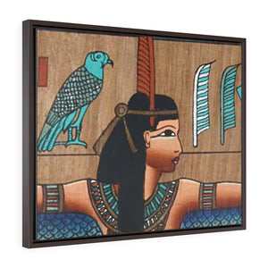 Horizontal Framed Premium Gallery Wrap Canvas -  Ancient papyrus with Goddess Isis - Egypt - Ancient religions