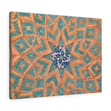 Printed in USA - Canvas Gallery Wraps - Brickwork mixed with blue tiles inside an old mosque in Yazd, Iran - Islam