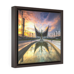 Square Framed Premium Canvas - Grand Mosque of West Sumatra - Indonesia - Islam