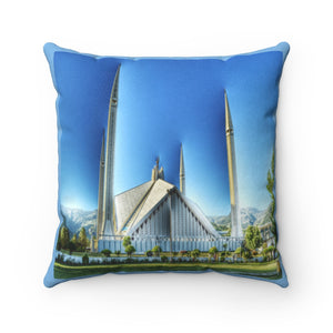 Faux Suede Square Pillow - The Faisal Mosque - Islamabad - Pakistan Islam