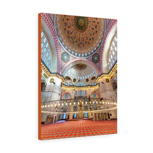 Printed in USA - Canvas Gallery Wraps  -Inside the Inside the Suleymaniye Mosque in Istanbul, Turkey - Islam