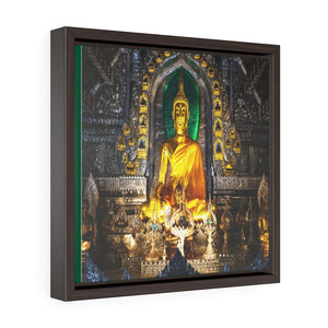 Square Framed Premium Canvas - Buddha altar in Lanna temple Thailand - Buddhism