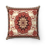 Faux Suede Square Pillow - Oriental carpet texture