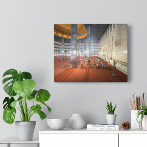 Printed in USA - Canvas Gallery Wraps - Muslim People ready for doing Salat in the Istiqlal Mosque - Indonesia - Universal Sunni - Islam