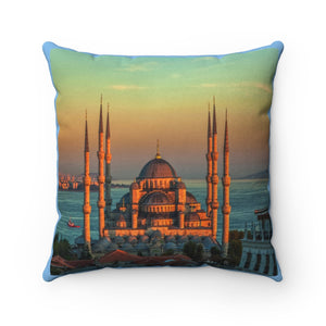 Faux Suede Square Pillow -   Blue mosque in glorius sunset, Istanbul, Sultanahmet park - Istambul. Turkey