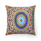 Faux Suede Square Pillow  - Islamic mosaic - Atlas Mountains of Morocco