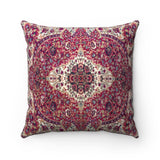 Faux Suede Square Pillow  - Central pattern of oriental carpet