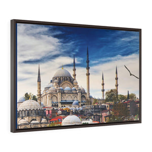Horizontal Framed Premium Gallery Wrap Canvas - Glorious External View of the Holy Hagia Sophia Mosque in Istanbul