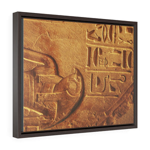 Horizontal Framed Premium Gallery Wrap Canvas -  Ancient Egypt hieroglyphs in Luxor  - Egypt - Ancient religions