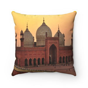 Faux Suede Square Pillow -  Landmark mosque of Muhammad Ali in Cairo