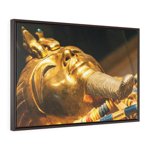 Horizontal Framed Premium Gallery Wrap Canvas -  Original gold mask of the pharaoh in museum in Cairo - Egypt - Ancient religions