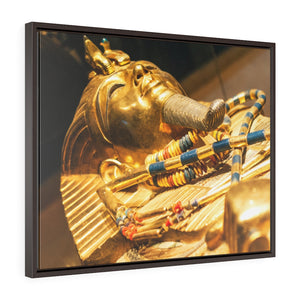 Horizontal Framed Premium Gallery Wrap Canvas -  Original Gold Mask of the Pharaoh - Egypt - Ancient religions
