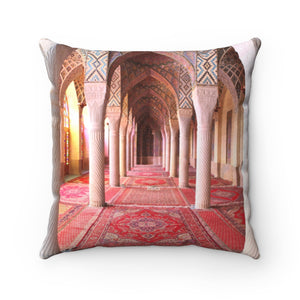 Faux Suede Square Pillow -  Nasir al-Mulk mosque, Shiraz, Iran