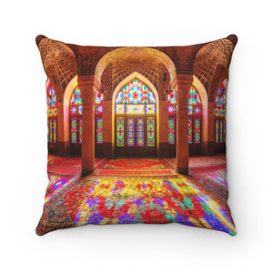 Faux Suede Square Pillow - Nasir Al-Mulk Mosque in Shiraz, Iran - Islam
