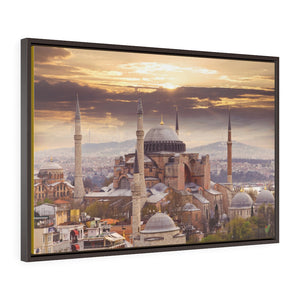 Horizontal Framed Premium Gallery Wrap Canvas - Awesome and Glorious External View of the Holy Hagia Sophia Mosque in Istanbul