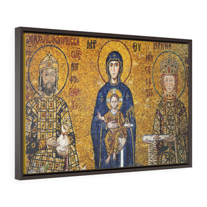 Horizontal Framed Premium Gallery Wrap Canvas - 11th century mosaic of infant Jesus Christ, Johj and Virgin Mary on the wall of Hagia Sophia Mosque in Istanbul