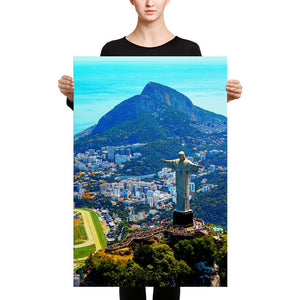 Canvas - Awresome Aerial view of Rio de Janeiro with Christ Redeemer and Corcovado Mountain. Brazil. IMAGES OF GOD