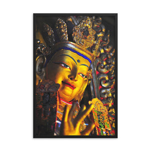 Framed poster - Image of buddha with gold in Gandan Monastery of Gelug Sect, Tibetan Buddhism, Lhasa - in gesture of Blessings IMAGES OF GOD