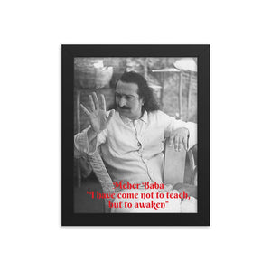 "Framed poster - Meher Baba -  ""I have come not to teach, but to awaken""  - Hinduism -  India IMAGES OF GOD"