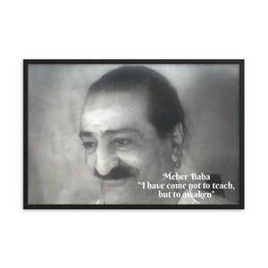 "Framed poster - Meher Baba -  ""I have come not to teach, but to awaken"" - Saint, Avatar and Mouna  - Hinduism -  India IMAGES OF GOD"
