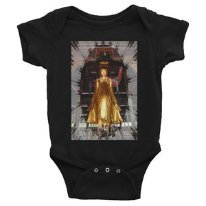 Infant Bodysuit - A golden standing Buddha halfway up the Mandalay Hill in central Myanmar IMAGES OF GOD