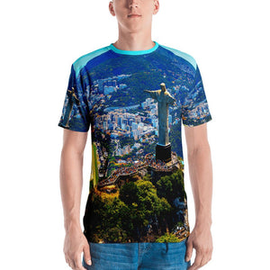 Men's T-shirt - Awresome Aerial view of Rio de Janeiro with Christ Redeemer and Corcovado Mountain. Brazil. IMAGES OF GOD