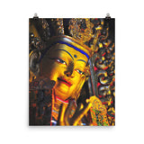 Photo paper poster - Buddha with gold in Gandan Monastery of Gelug Sect, Tibetan Buddhism, Lhasa. Bodhisattva of Compassion in gesture of  Blessings IMAGES OF GOD